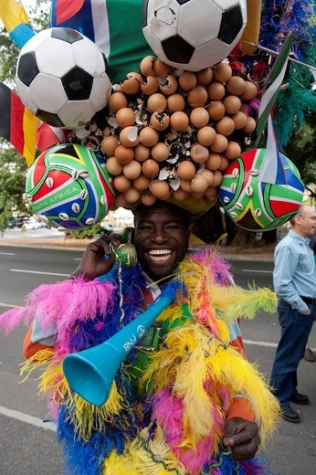Football fan waiting for the ticket office to open, 2010 FIFA World Cup, Cape Town, South Africa, Africa : Stock Photo