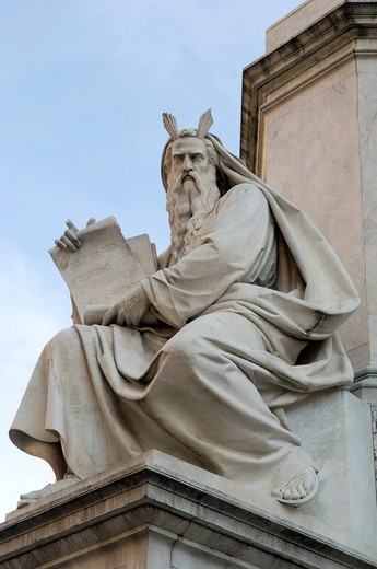Moses statue on the Piazza di Spagna square, Rome, Italy, Europe : Stock Photo