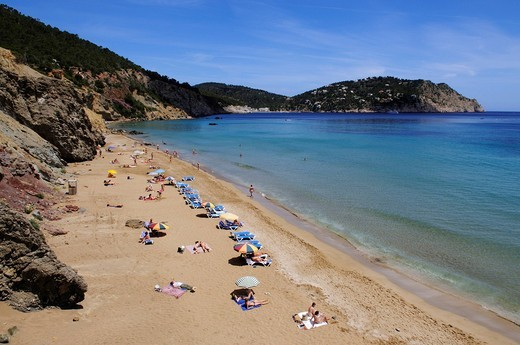 Platja S´Aigua Blanca beach, Ibiza, Pine Islands, Balearic Islands, Spain, Europe : Stock Photo