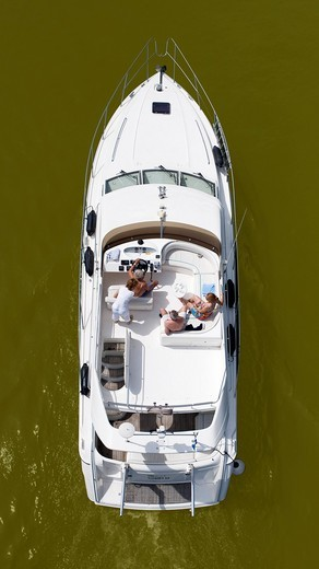 Motor boat from above : Stock Photo