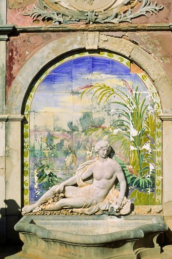 Fountain with azulejos, Palácio de Estói, Estoi, Algarve, Portugal, Europe : Stock Photo