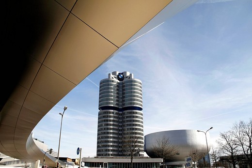 BMW Headquarters, BMW Tower seen from the BMW World Complex, Munich, Upper Bavaria, Germany, Europe : Stock Photo