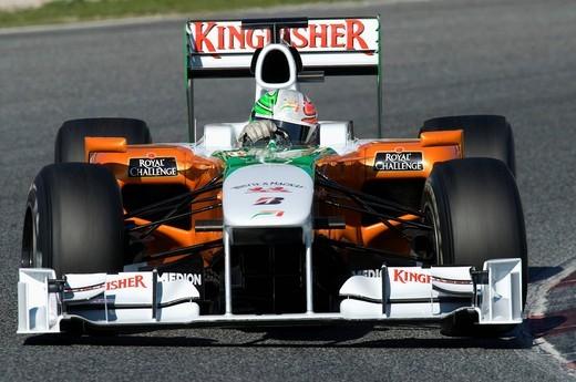 Stock Photo: 1848-430129 Motorsports, Vitantonio Liuzzi, ITA, in the Force India VJM02 race car, Formula 1 testing at the Circuit de Catalunya race track in Barcelona, Spain, Europe