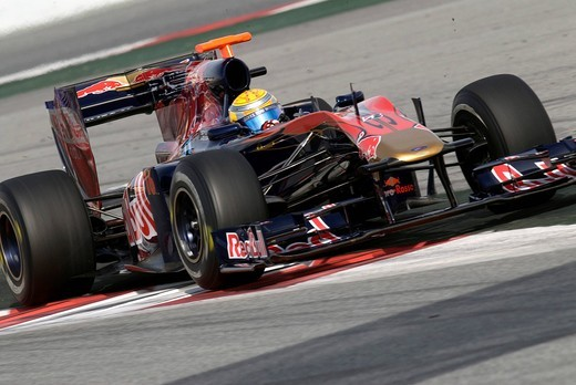 Stock Photo: 1848-430135 Motorsports, Sebastien Buemi, SUI, in the Toro Rosso STR4 race car, Formula 1 testing at the Circuit de Catalunya race track in Barcelona, Spain, Europe