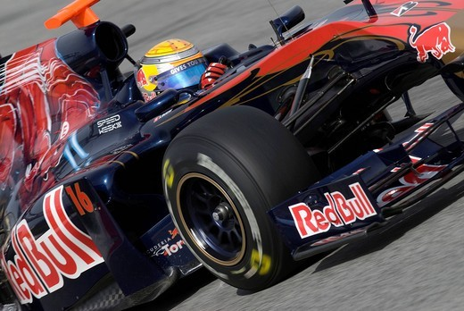 Stock Photo: 1848-430138 Motorsports, Sebastien Buemi, SUI, in the Toro Rosso STR4 race car, Formula 1 testing at the Circuit de Catalunya race track in Barcelona, Spain, Europe