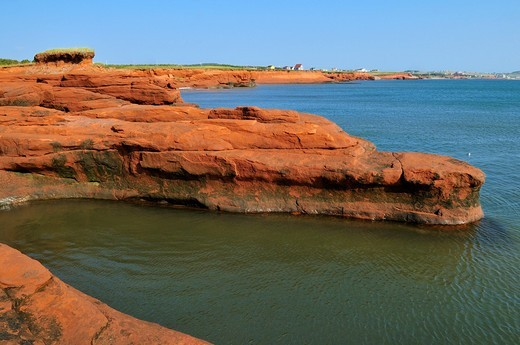Red cliffs at La Grande Echouerie, Ile du Cap aux Meules, Iles de la Madeleine, Magdalen Islands, Quebec Maritime, Canada, North America : Stock Photo