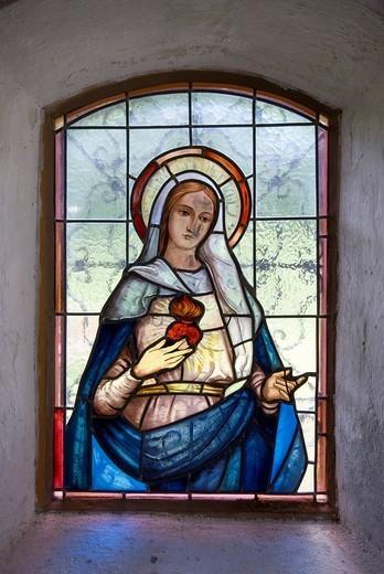 Stock Photo: 1848-43065 Chapel window, alp chapel, Fallerschein mountain village, Stanzach district, Tyrol, Austria, Europe