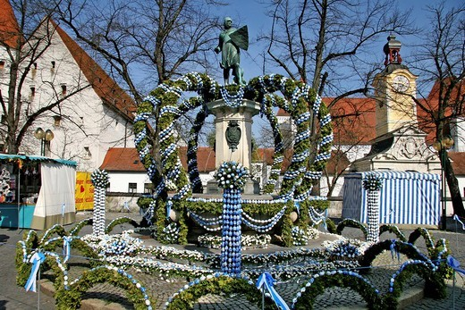 Easter fountain, Kaiser Ludwig monument, New Castle at back, spring, Ingolstadt, Bavaria, Germany, Europe : Stock Photo