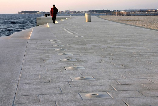 Stock Photo: 1848-430815 Sea Pipe Organ Boardwalk on the foreshore of Zadar, Croatia, Europe