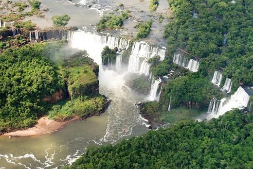 Iguazu Falls, aerial perspective, Iguazu River, Brazil, South America : Stock Photo