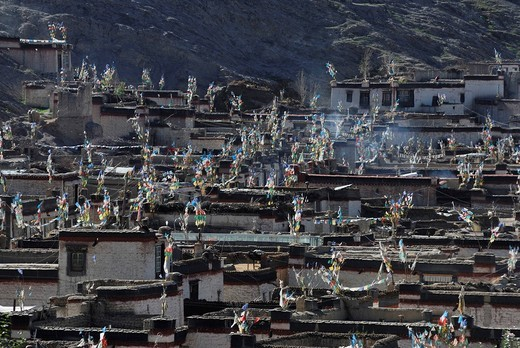 View from the Palcho Monastery or Pelkor Chode Monastery on the historic town of Gyantse, Tibet, China, Asia : Stock Photo