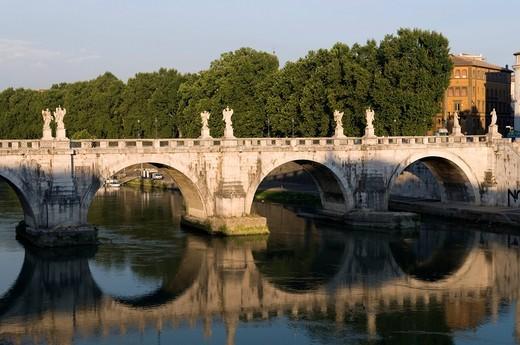 Stock Photo: 1848-430972 Ponte Sant´Angelo bridge with reflection, Rome, Italy, Europe