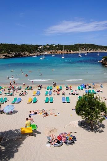 Stock Photo: 1848-431106 Beach, Cala S´Arenal Gran, Portinatx, Ibiza, Pine Islands, Balearic Islands, Spain, Europe