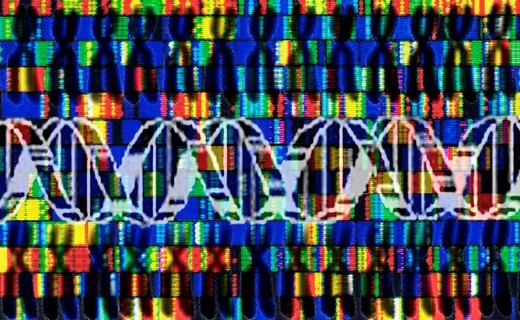 Chromosomes, DNA sequence, genes, symbolic image for the decoding of the genome, genetic engineering : Stock Photo