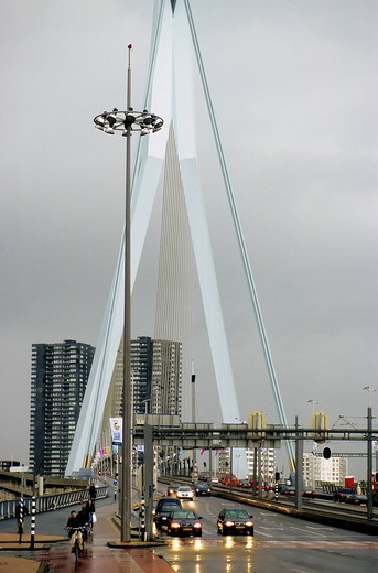 Stock Photo: 1848-431259 Traffic on the Erasmusbrug, Erasmus Bridge, rainy weather, Rotterdam, South Holland, Netherlands, Europe