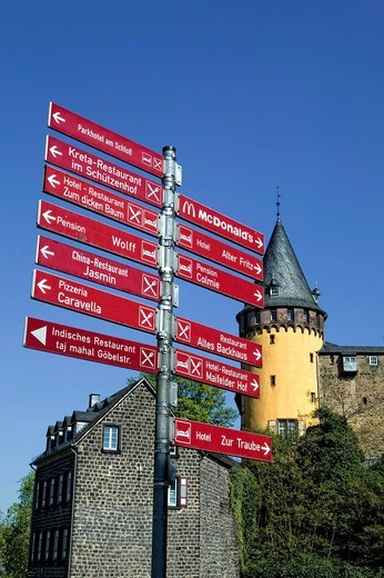 Signpost and Genovevaburg Castle, Mayen, Rhineland_Palatinate, Germany, Europe : Stock Photo