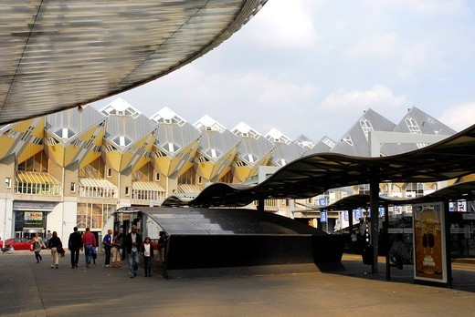 Modern architecture, Cube Houses, Kubuswoningen at the Rotterdam Blaak Railway Station, Zuid_Holland, South_Holland, Netherlands, Europe : Stock Photo