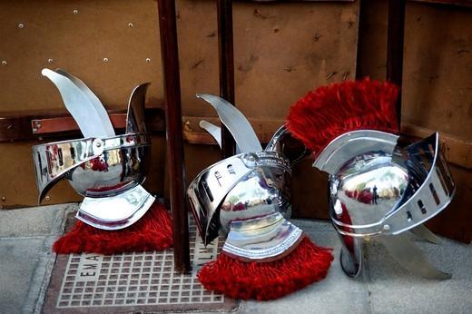 Roman helmets, Semana Santa, Holy Week, Palma de Majorca, Majorca, Balearic Islands, Spain, Europe : Stock Photo
