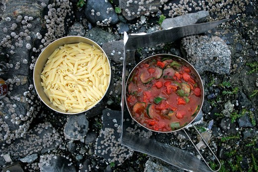 Cooking on a gas cooker, pasta and vegetable stew, Glacier Bay National Park, Alaska, USA : Stock Photo