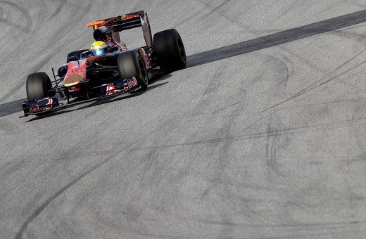 Stock Photo: 1848-432678 Motorsports, Sebastien Buemi, SUI, in the Toro Rosso STR4 race car, Formula 1 testing at the Circuit de Catalunya race track in Barcelona, Spain, Europe