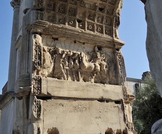 Stock Photo: 1848-432704 Relief on the Arch of Titus in the Forum Romanum or Roman Forum, Rome, Lazio, Italy, Europe