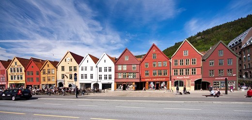 Stock Photo: 1848-432715 Bryggen on the east side of the Vågen bay, former Hanseatic headquarters, Norway, Scandinavia, Europe