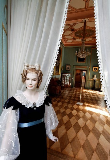 Stock Photo: 1848-43326 Female mannequin in an elegant dress of the 18th century, view through curtains into a room in the classical style, Schloss Elisabethenburg castle, Rhoen, Thuringia, Germany, Europe