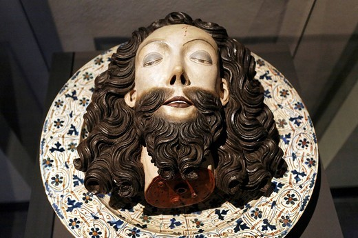 Severed head of John the Baptist lying on a plate, wood sculpture, Stiftsmuseum Museum Xanten monastery museum, Xanten, Niederrhein region, North Rhine_Westphalia, Germany, Europe : Stock Photo