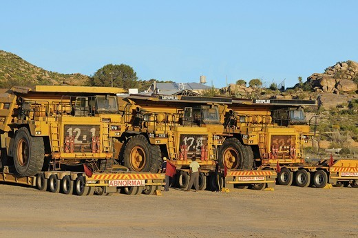 Transport of Caterpillar 777D off_highway trucks for diamond mines, South Africa, Africa : Stock Photo