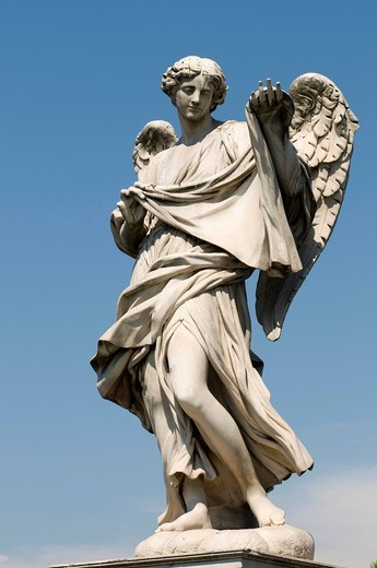 Stock Photo: 1848-433422 Angel statue on the Ponte Sant´Angelo bridge, Rome, Italy, Europe