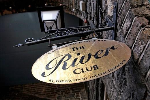 Stock Photo: 1848-433640 River Club wine bar sign, Dublin, Ireland, Europe
