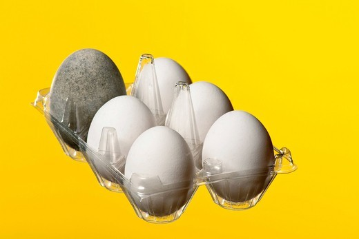 Stock Photo: 1848-433644 5 hen´s eggs and 1 fermented duck egg, also known as century egg, preserved egg, hundred_year egg, thousand_year egg, or thousand_year_old egg