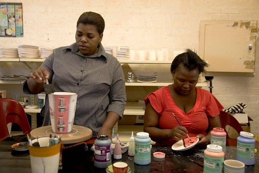 Education center in the Langa township, women making pottery, Cape Town, Western Cape, South Africa, Africa : Stock Photo