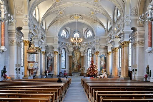 Interior of the city church of St. Nicholas in Frauenfeld, Canton Thurgau, Switzerland, Europe : Stock Photo