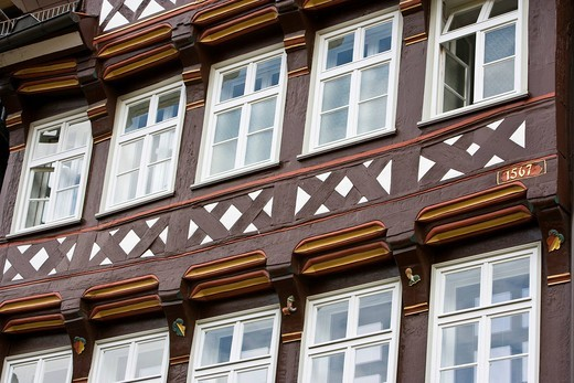 House facade in Hannoversch Muenden, Hesse, Germany, Europe : Stock Photo