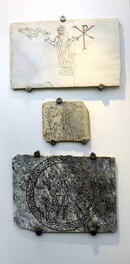 Stock Photo: 1848-434261 Early Christian symbols in the Terme Museum, National Museum of Rome, Lazio, Italy, Europe