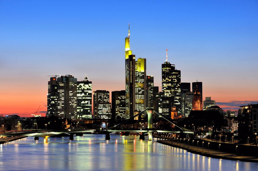 Stock Photo: 1848-434357 Frankfurt skyline seen from the east with Floesserbruecke bridge and Domturm tower on the right, Frankfurt am Main, Hesse, Germany, Europe