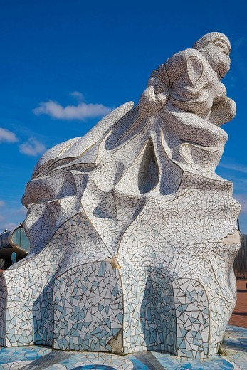Captain Scott Memorial, mosaic marble memorial by Jonathan Williams, Antarctic ´100´, Cardiff Bay, Cardiff, Caerdydd, South Glamorgan, Wales, United Kingdom, Europe : Stock Photo