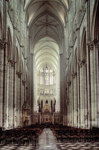 Interior of the Cathedral of Our Lady of Amiens, Amiens Cathedral, Amiens, Picardie, France, Europe : Stock Photo