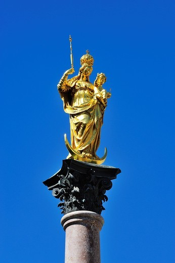 Stock Photo: 1848-434797 Marian column, Marienplatz, Munich, Bavaria, Germany, Europe