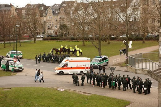 Police presence, demonstration, Rheinwiese area, Duesseldorf, North Rhine_Westphalia, Germany, Europe : Stock Photo