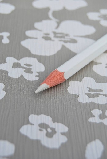 Stock Photo: 1848-434839 Single white pencil on flowery surface, creativity