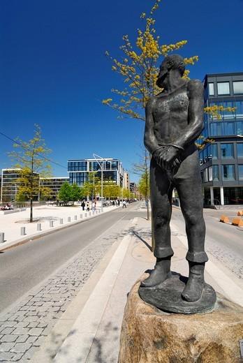 Statue of Stoertebeker, Grosser Grasbrook street, Hafencity, Hamburg, Germany, Europe : Stock Photo