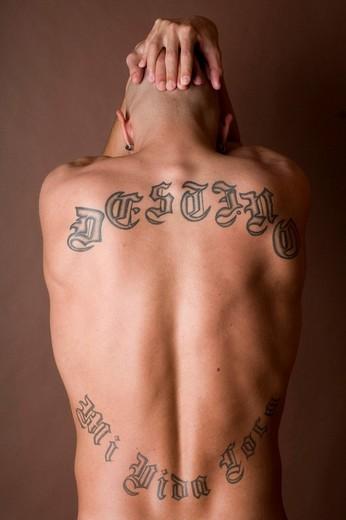 Stock Photo: 1848-43490 Man, muscular, back, tattoo