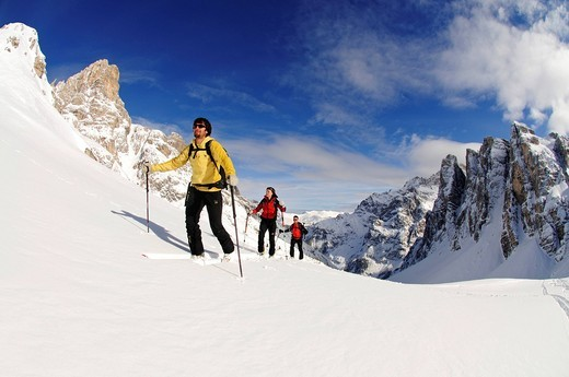 Ski touring, Mt. Sextner Stein, Sexten, Hochpustertal valley, South Tyrol, Italy, Europe : Stock Photo
