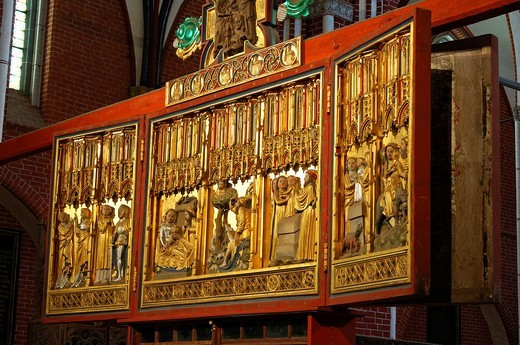Biblical scenes on the Marian side of the double_cross altar, Doberaner Muenster Minster, Cistercian abbey, Bad Doberan, Mecklenburg_Western Pomerania, Germany, Europe : Stock Photo