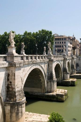 Stock Photo: 1848-434957 Ponte Sant´Angelo bridge over the Tiber river, Rome, Italy, Europe