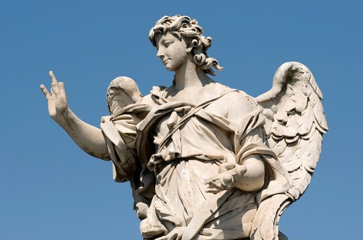 Stock Photo: 1848-434958 Angel statue on the Ponte Sant´Angelo bridge, Rome, Italy, Europe