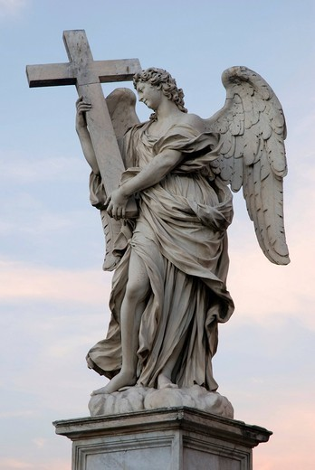 Stock Photo: 1848-434970 Angel statue on Ponte Sant´Angelo, Angel´s Bridge, in evening light, Rome, Italy, Europe