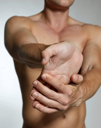 Stock Photo: 1848-43506 Man, naked torso, muscles, hands